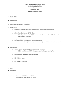 Kansas State University Faculty Senate  Professional Staff Affairs  Agenda  October 20, 2015
