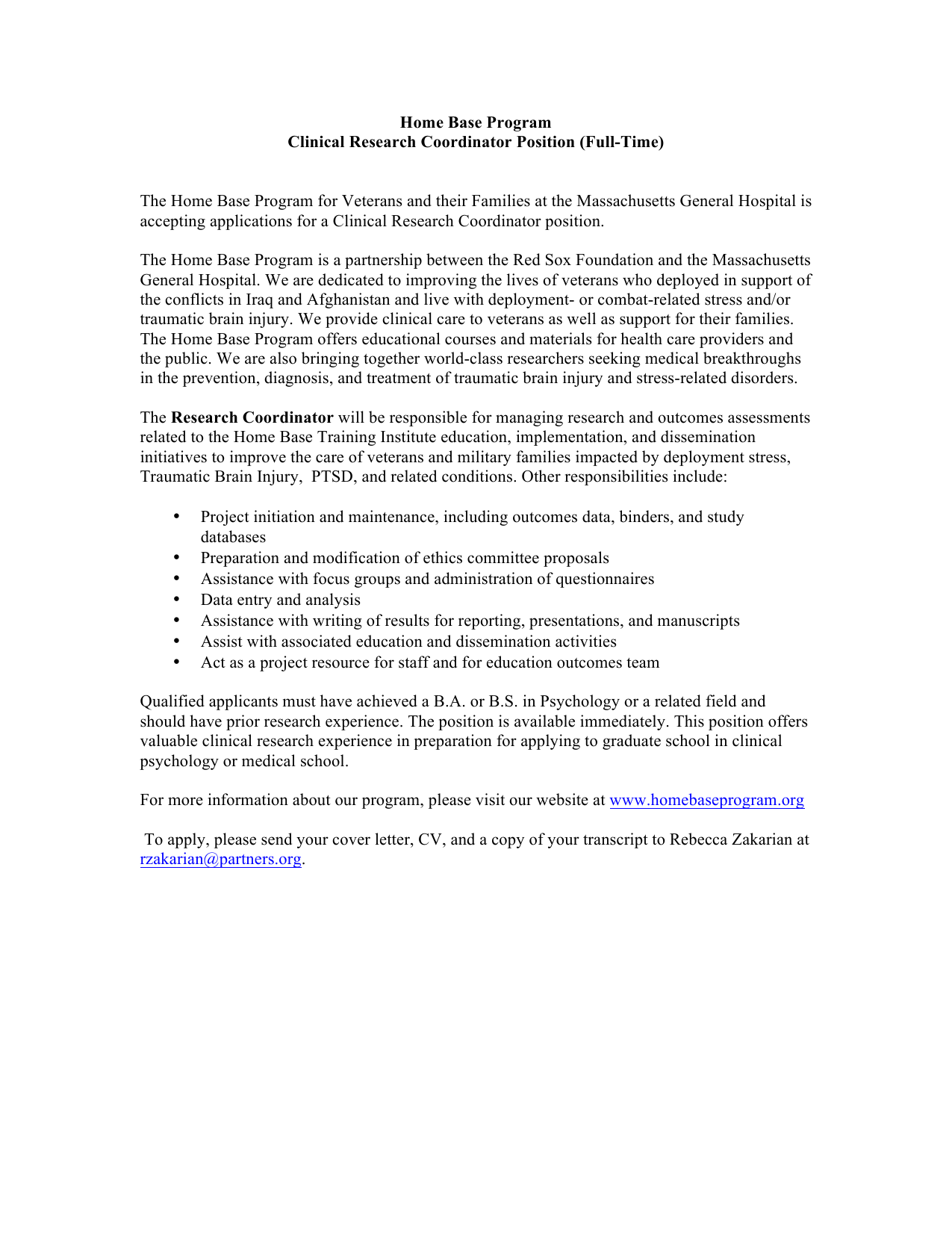 Home Base Program Clinical Research Coordinator Position ...