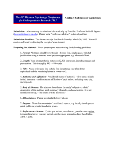 The 45 Western Psychology Conference for Undergraduate Research Abstract Submission Guidelines
