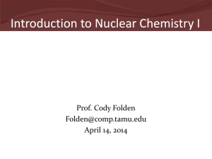 Introduction to Nuclear Chemistry I  Prof. Cody Folden