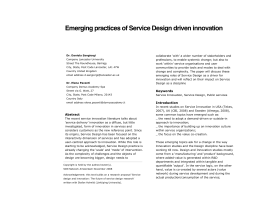 Emerging practices of Service Design driven innovation