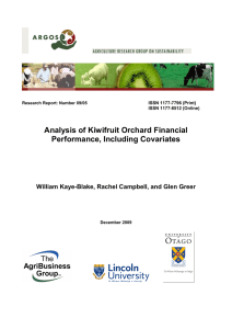 Analysis of Kiwifruit Orchard Financial Performance, Including Covariates