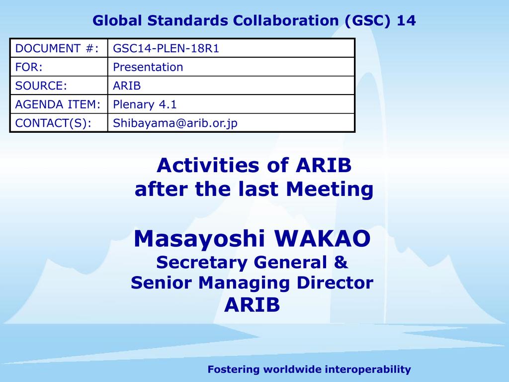 Global Standards Collaboration...