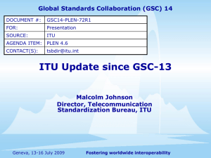 ITU Update since GSC-13