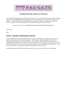 Establishing Healthy Behaviors Worksheet