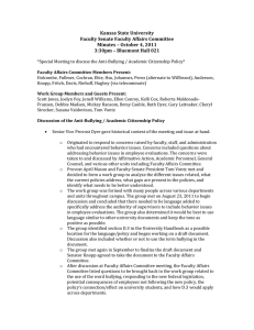 Kansas State University   Faculty Senate Faculty Affairs Committee  Minutes – October 4, 2011  3:30pm – Bluemont Hall 021