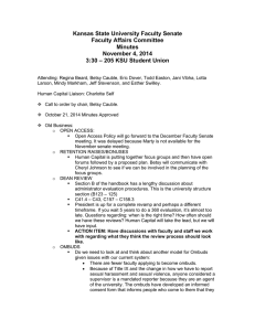 Kansas State University Faculty Senate Faculty Affairs Committee Minutes November 4, 2014