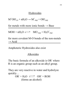 Hydroxides M OH