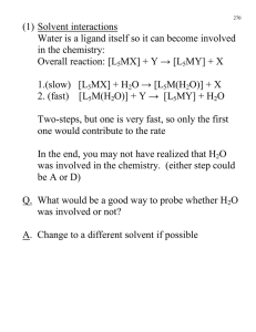 (1) Solvent interactions in the chemistry: Overall reaction: [L