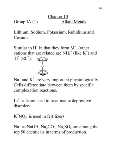 Chapter 10 Group IA (1)  Alkali Metals