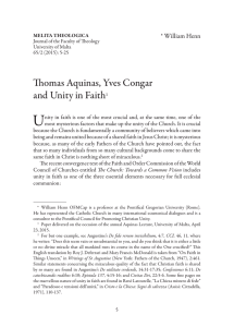 U Thomas Aquinas, Yves Congar and Unity in Faith * William Henn