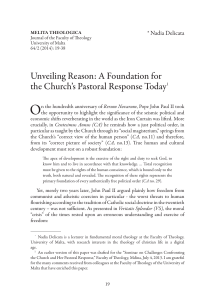 O Unveiling Reason: A Foundation for the Church's Pastoral Response Today