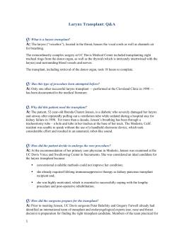 Larynx Transplant: Q&A Q:  A: