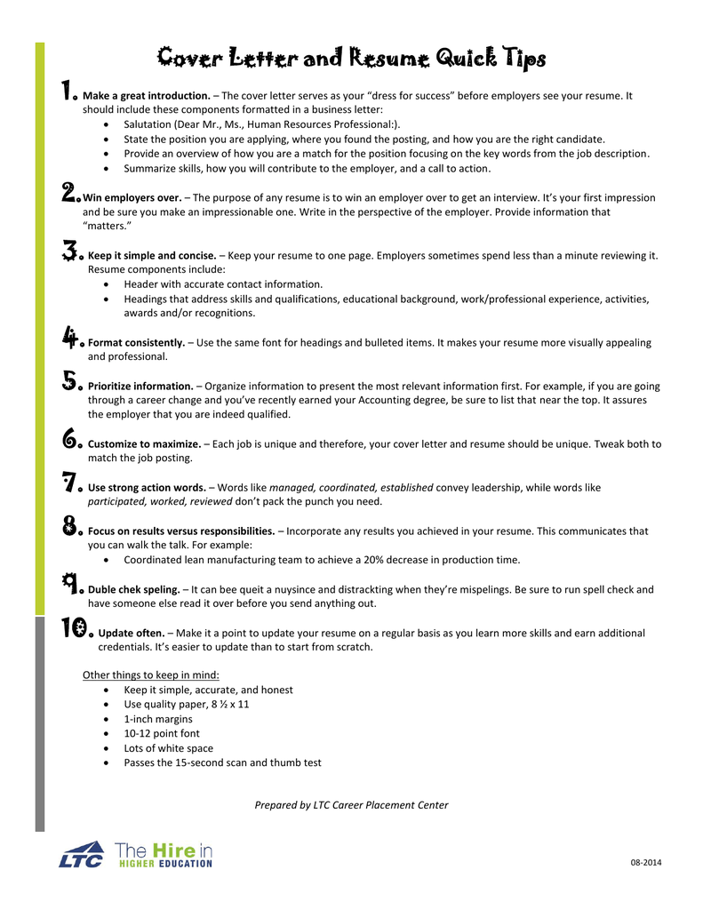 Cover Letter and Resume Quick Tips
