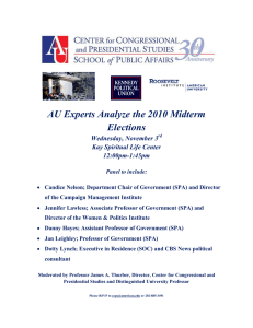 AU Experts Analyze the 2010 Midterm Elections Wednesday, November 3