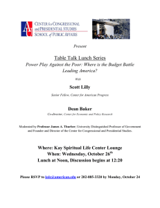 Table Talk Lunch Series Leading America? Scott Lilly
