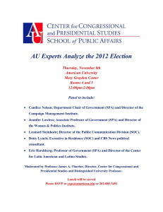 AU Experts Analyze the 2012 Election  Thursday, November 8th American University