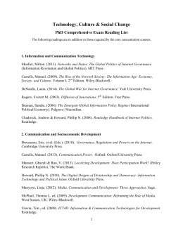 Technology, Culture & Social Change PhD Comprehensive Exam Reading List