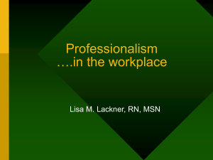Professionalism ….in the workplace Lisa M. Lackner, RN, MSN