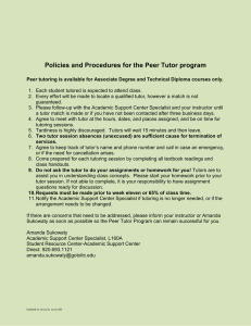 Policies and Procedures for the Peer Tutor program