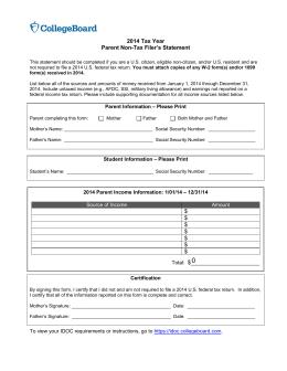 Brandeis University 2015 Tax Year 's Statement Parent Non-Tax Filer
