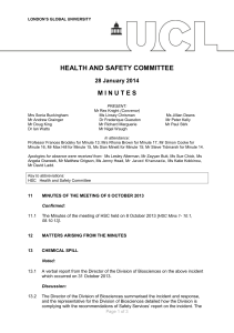 HEALTH AND SAFETY COMMITTEE M I N U T E S