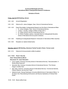 1st Annual Washington DC-Area International Affairs Undergraduate Research Conference Schedule of Events