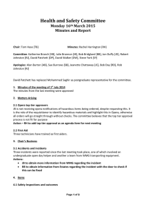 Health and Safety Committee Monday 16 March 2015 Minutes and Report