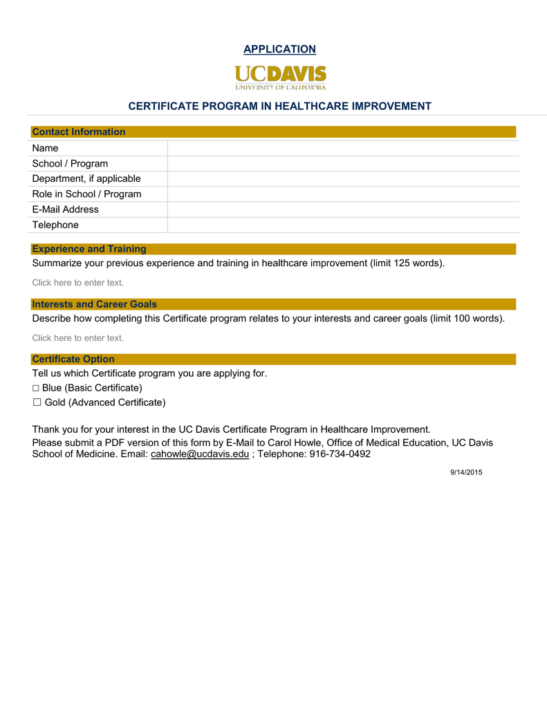 Application Certificate Program In Healthcare Improvement