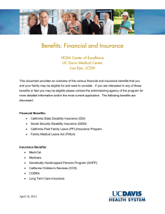 Benefits: Financial and Insurance  HDSA Center of Excellence UC Davis Medical Center
