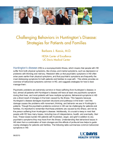 Challenging Behaviors in Huntington's Disease: Strategies for Patients and Families