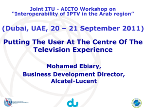 Putting The User At The Centre Of The Television Experience Mohamed Ebiary,