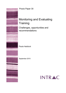 Monitoring and Evaluating Training  Challenges, opportunities and