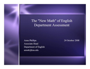 "The ""New Math"" of English Department Assessment Anne Phillips 24 October 2008"