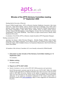 Minutes of the APTS Advisory Committee meeting 11 September 2008