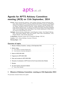 apts .ac.uk Agenda for APTS Advisory Committee meeting (AC8) on 11th September, 2014
