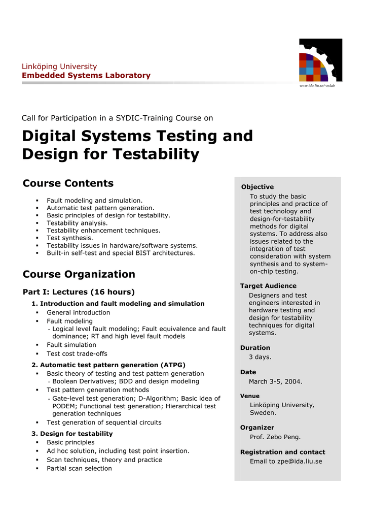 Digital Systems Testing And Design For Testability Course Contents Linkoping University