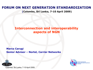 FORUM ON NEXT GENERATION STANDARDIZATION Interconnection and interoperability aspects of NGN (