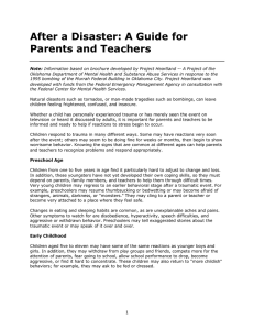 After a Disaster: A Guide for Parents and Teachers