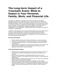 The Long-term Impact of a Traumatic Event: What to