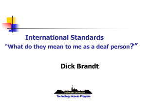 "?"" International Standards Dick Brandt"
