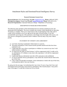 Attachment Styles and Emotional/Social Intelligence Survey