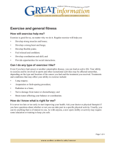 Exercise and general fitness How will exercise help me?