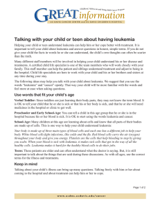 Talking with your child or teen about having leukemia