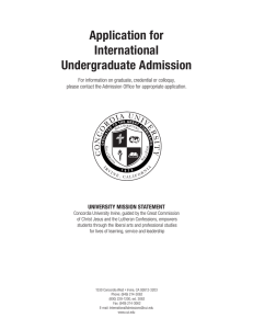 Application for International Undergraduate Admission