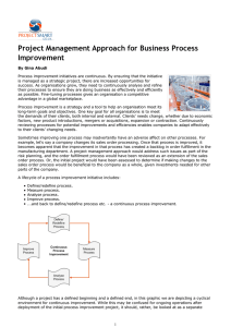 Project Management Approach for Business Process Improvement