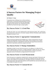 6 Success Factors for Managing Project Quality