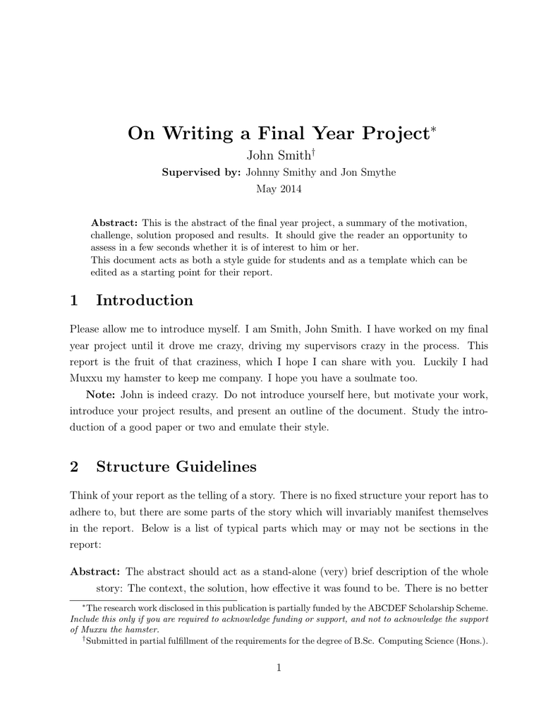 On Writing A Final Year Project John Smith