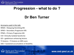 Progression - what to do ? Dr Ben Turner