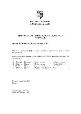 ELECTION OF ONE MEMBER OF THE ACADEMIC STAFF ON COUNCIL